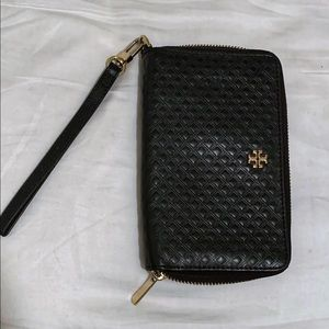 Tory Burch Black Quilted Leather Phone Wristlet
